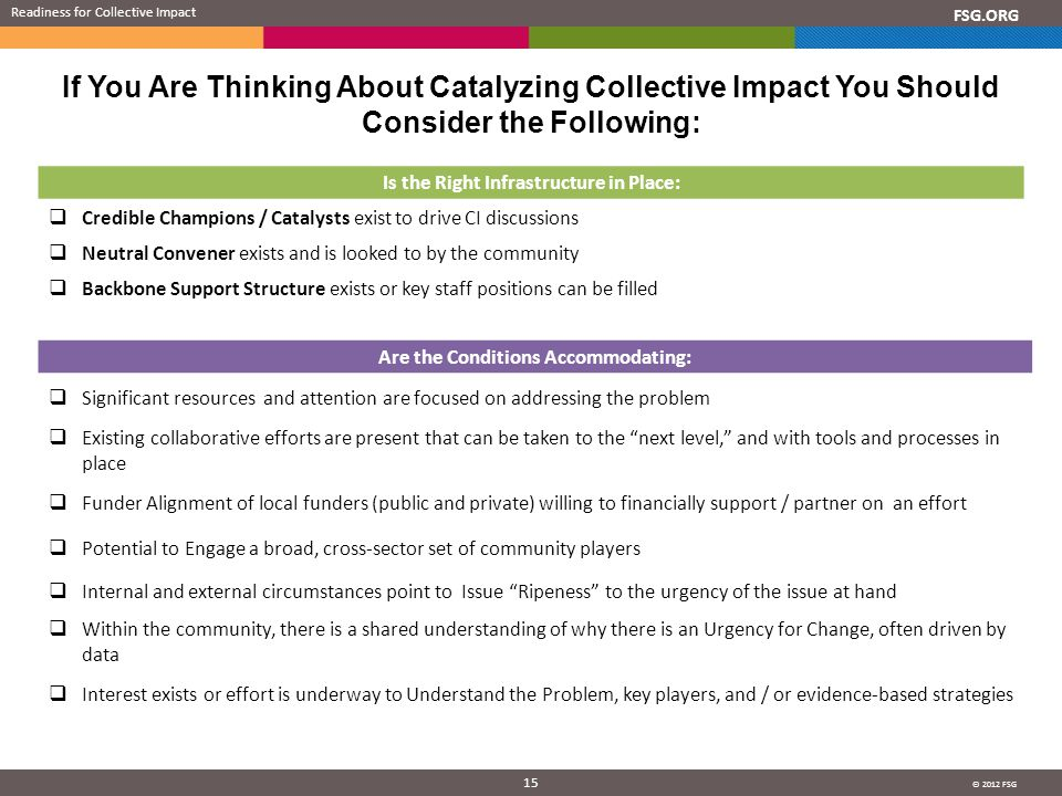 © 2012 FSG 15 FSG.ORG If You Are Thinking About Catalyzing Collective Impact You Should Consider the Following: Readiness for Collective Impact Is the