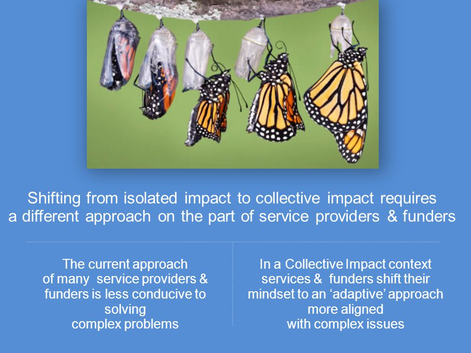 Shifting from isolated impact to collective impact requires a different approach on the part of service providers & funders The current approach of ma