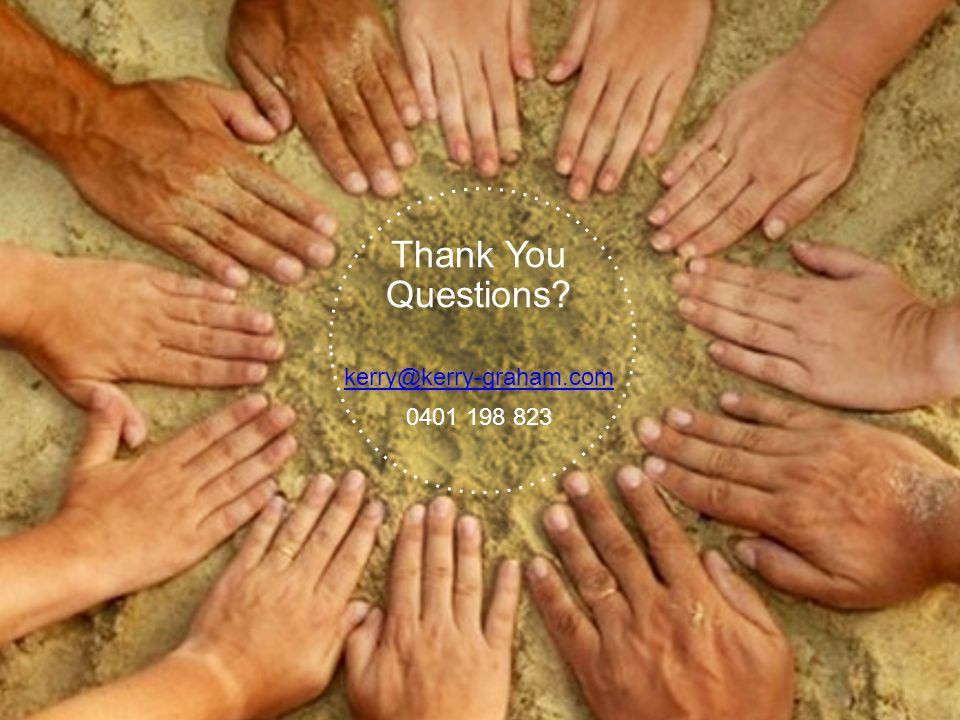 Thank You Questions? kerry@kerry-graham.com 0401 198 823