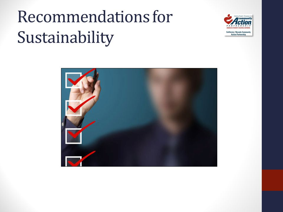 Recommendations for Sustainability