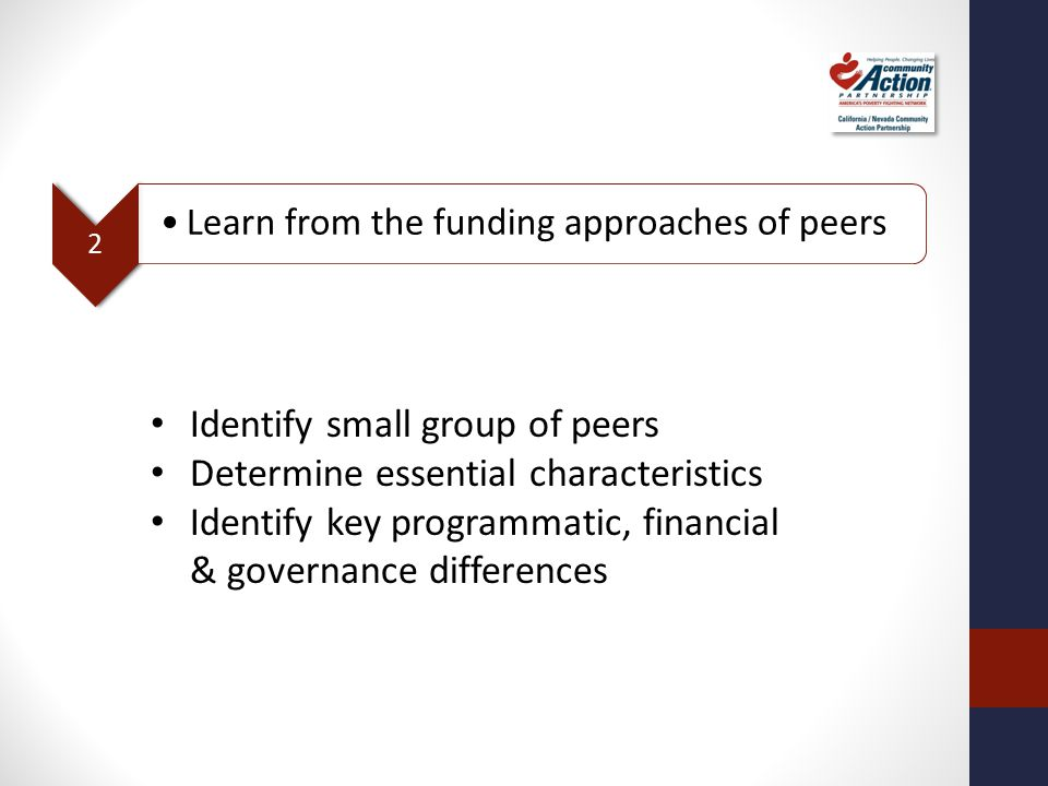 2 Learn from the funding approaches of peers Identify small group of peers Determine essential characteristics Identify key programmatic, financial &
