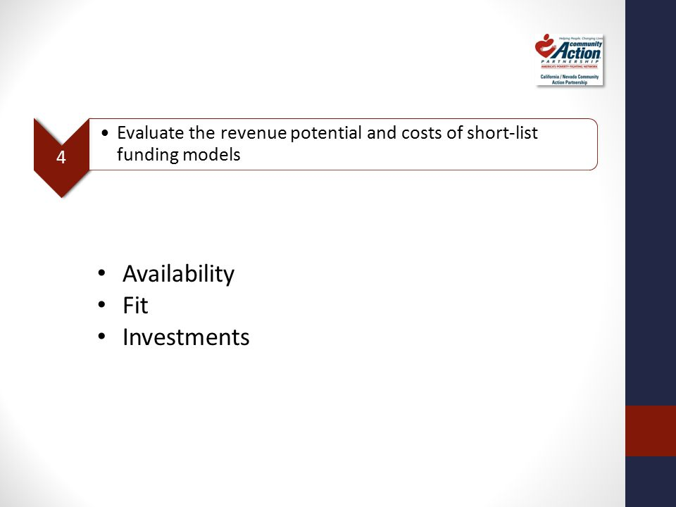 4 Evaluate the revenue potential and costs of short-list funding models Availability Fit Investments