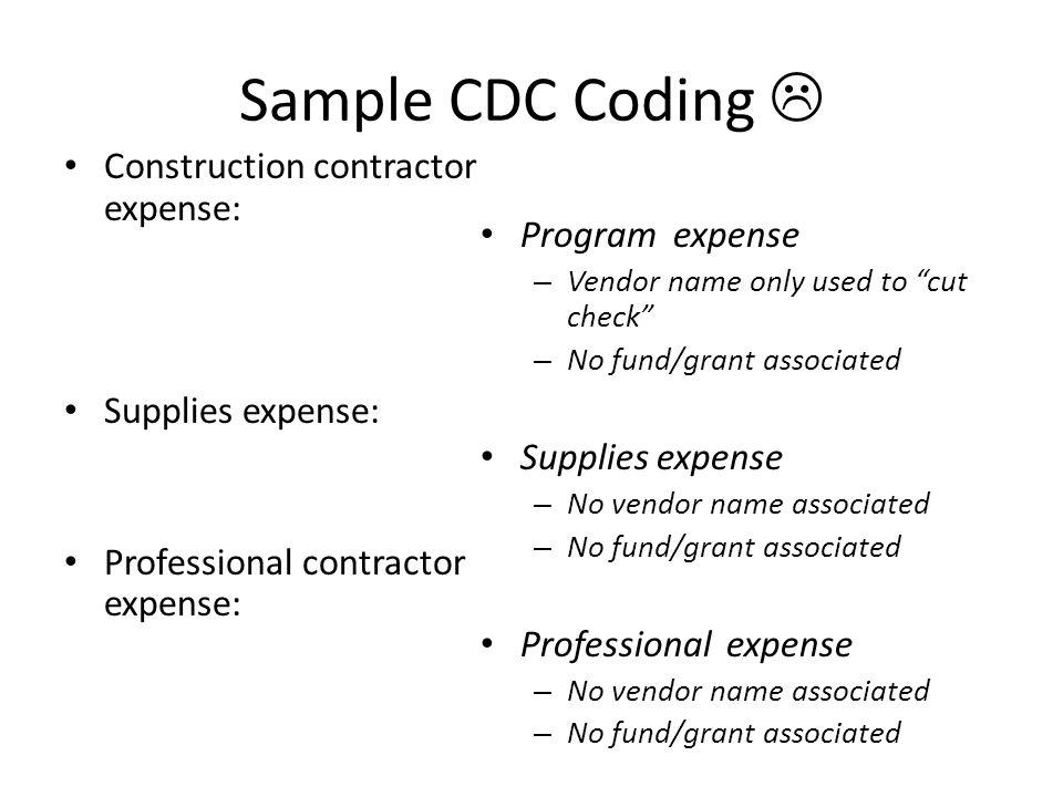 "Sample CDC Coding  Construction contractor expense: Supplies expense: Professional contractor expense: Program expense – Vendor name only used to ""cu"