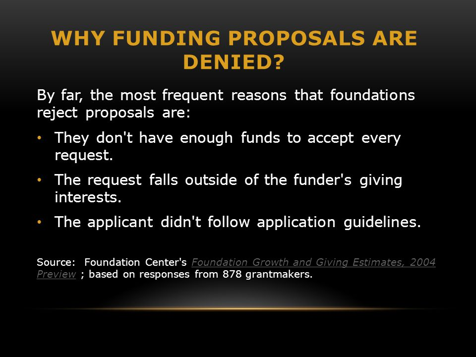 WHY FUNDING PROPOSALS ARE DENIED.