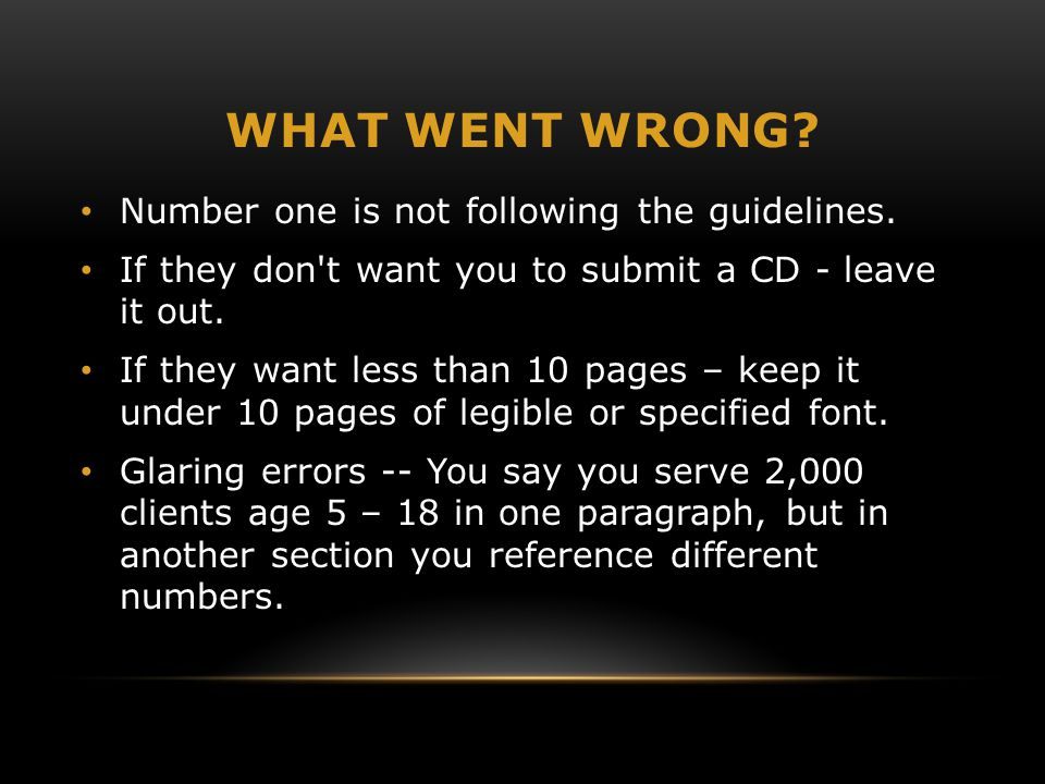 WHAT WENT WRONG? Number one is not following the guidelines. If they don't want you to submit a CD - leave it out. If they want less than 10 pages – k