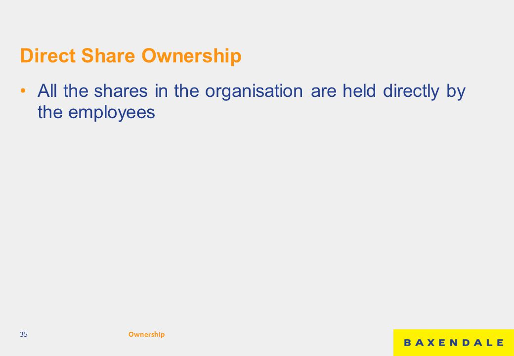 Direct Share Ownership All the shares in the organisation are held directly by the employees 35Ownership