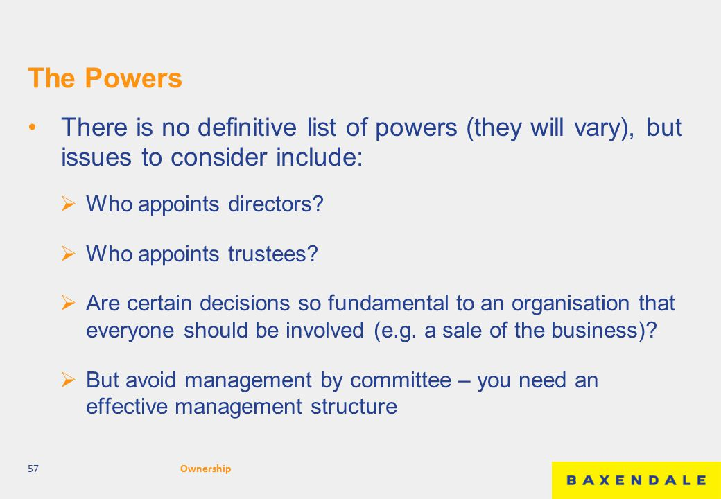 The Powers There is no definitive list of powers (they will vary), but issues to consider include:  Who appoints directors?  Who appoints trustees?