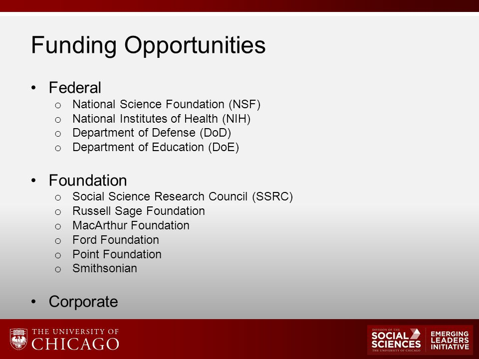 Funding Opportunities Federal o National Science Foundation (NSF) o National Institutes of Health (NIH) o Department of Defense (DoD) o Department of Education (DoE) Foundation o Social Science Research Council (SSRC) o Russell Sage Foundation o MacArthur Foundation o Ford Foundation o Point Foundation o Smithsonian Corporate