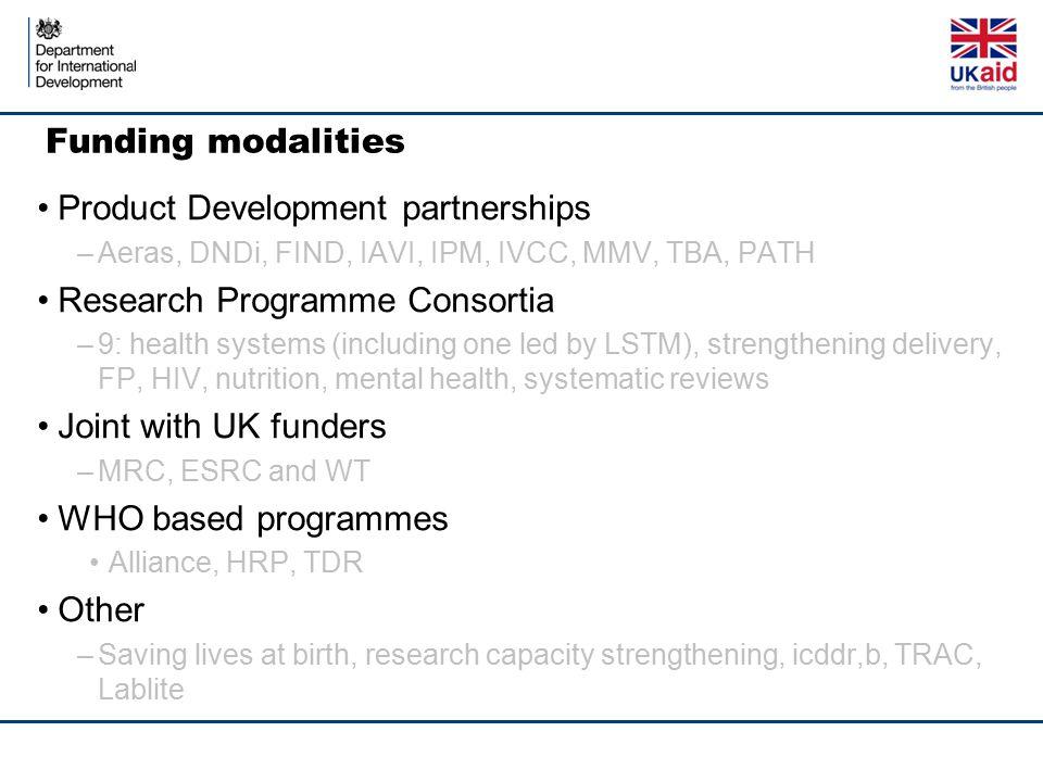 Funding modalities Product Development partnerships –Aeras, DNDi, FIND, IAVI, IPM, IVCC, MMV, TBA, PATH Research Programme Consortia –9: health system