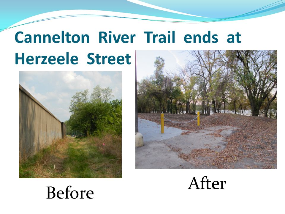 Cannelton River Trail ends at Herzeele Street Before After