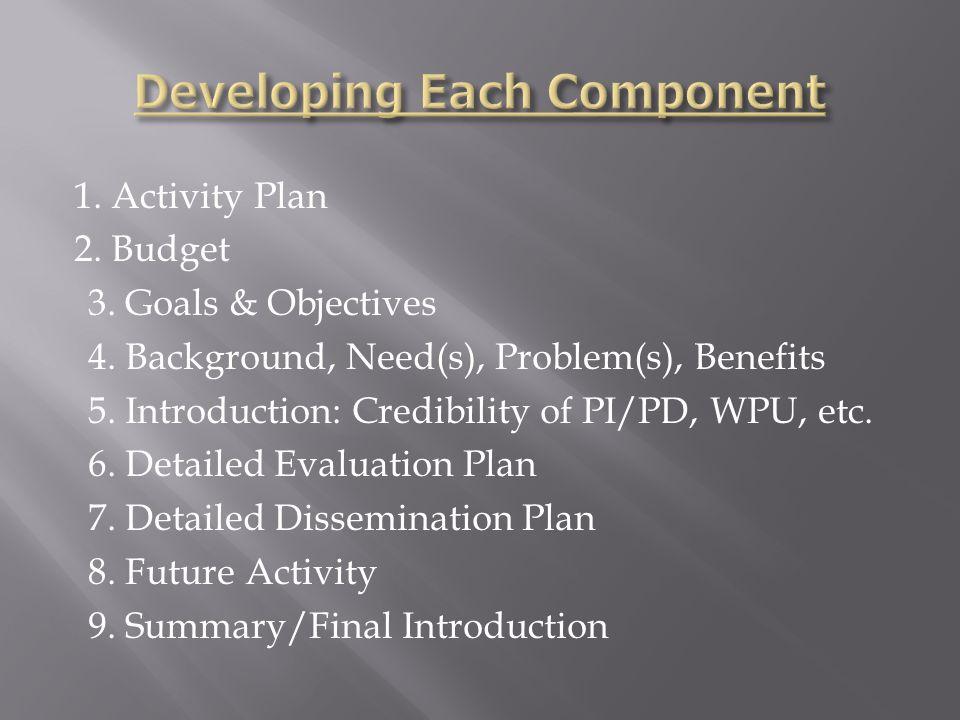 1.Activity Plan 2. Budget 3. Goals & Objectives 4.