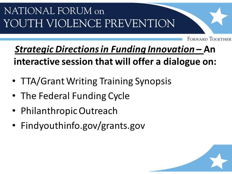 Strategic Directions in Funding Innovation – An interactive session that will offer a dialogue on: TTA/Grant Writing Training Synopsis The Federal Funding Cycle Philanthropic Outreach Findyouthinfo.gov/grants.gov