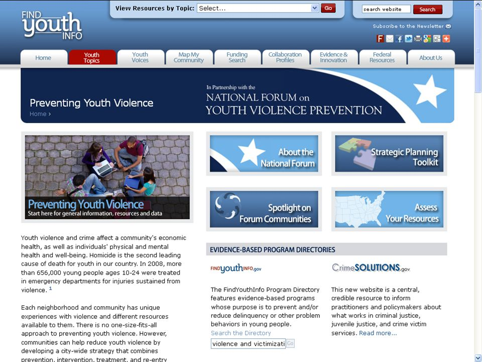 Preventing Youth Violence website
