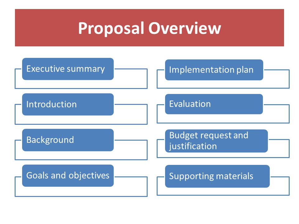Proposal Overview Executive summaryIntroductionBackground Goals and objectives Implementation plan Evaluation Budget request and justification Supporting materials