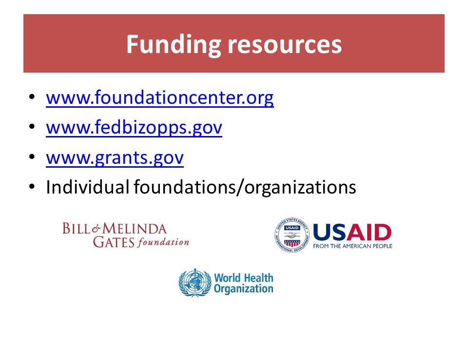 Funding resources www.foundationcenter.org www.fedbizopps.gov www.grants.gov Individual foundations/organizations