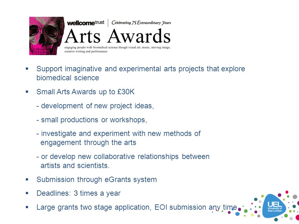 f  Support imaginative and experimental arts projects that explore biomedical science  Small Arts Awards up to £30K - development of new project ide