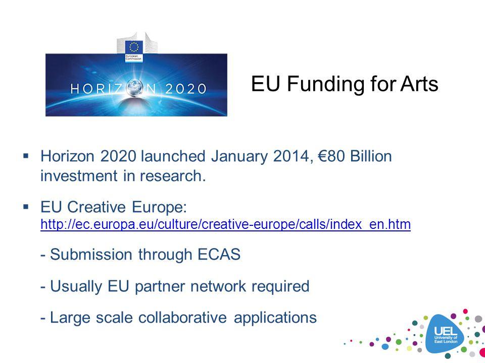 EU Funding for Arts  Horizon 2020 launched January 2014, €80 Billion investment in research.  EU Creative Europe: http://ec.europa.eu/culture/creati