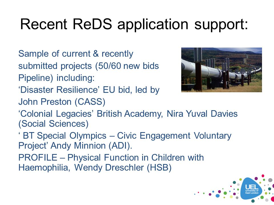 Recent ReDS application support: Sample of current & recently submitted projects (50/60 new bids Pipeline) including: 'Disaster Resilience' EU bid, le