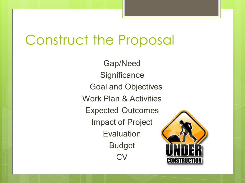 Construct the Proposal Gap/Need Significance Goal and Objectives Work Plan & Activities Expected Outcomes Impact of Project Evaluation Budget CV