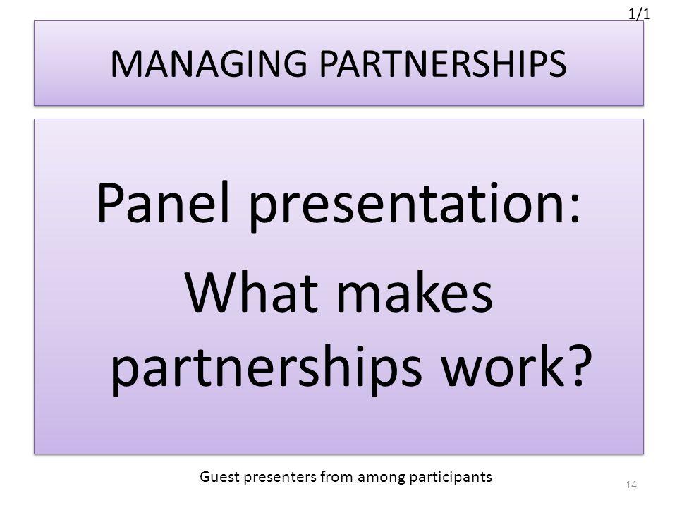 MANAGING PARTNERSHIPS Panel presentation: What makes partnerships work.