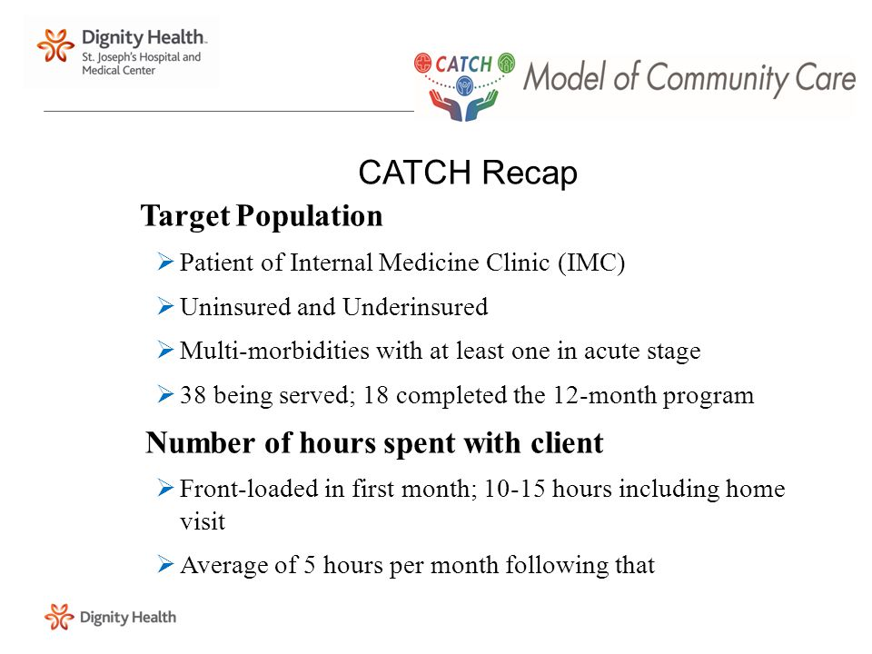 CATCH Recap Target Population  Patient of Internal Medicine Clinic (IMC)  Uninsured and Underinsured  Multi-morbidities with at least one in acute stage  38 being served; 18 completed the 12-month program Number of hours spent with client  Front-loaded in first month; 10-15 hours including home visit  Average of 5 hours per month following that