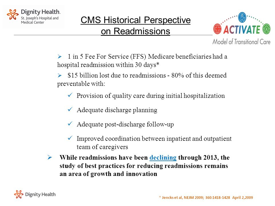  1 in 5 Fee For Service (FFS) Medicare beneficiaries had a hospital readmission within 30 days*  $15 billion lost due to readmissions - 80% of this