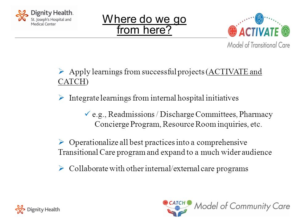 Where do we go from here?  Apply learnings from successful projects (ACTIVATE and CATCH)  Integrate learnings from internal hospital initiatives e.g