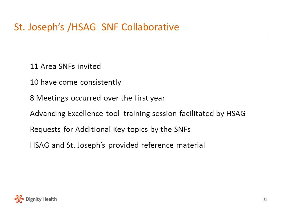 22 11 Area SNFs invited 10 have come consistently 8 Meetings occurred over the first year Advancing Excellence tool training session facilitated by HSAG Requests for Additional Key topics by the SNFs HSAG and St.