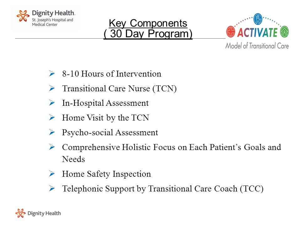 Key Components ( 30 Day Program)  8-10 Hours of Intervention  Transitional Care Nurse (TCN)  In-Hospital Assessment  Home Visit by the TCN  Psych