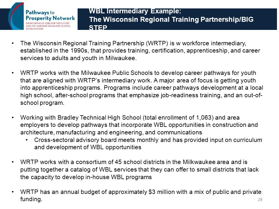 WBL Intermediary Example: The Wisconsin Regional Training Partnership/BIG STEP 28 The Wisconsin Regional Training Partnership (WRTP) is w workforce intermediary, established in the 1990s, that provides training, certification, apprenticeship, and career services to adults and youth in Milwaukee.