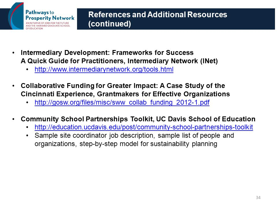 References and Additional Resources (continued) 34 Intermediary Development: Frameworks for Success A Quick Guide for Practitioners, Intermediary Network (INet) http://www.intermediarynetwork.org/tools.html Collaborative Funding for Greater Impact: A Case Study of the Cincinnati Experience, Grantmakers for Effective Organizations http://gosw.org/files/misc/sww_collab_funding_2012-1.pdf Community School Partnerships Toolkit, UC Davis School of Education http://education.ucdavis.edu/post/community-school-partnerships-toolkit Sample site coordinator job description, sample list of people and organizations, step-by-step model for sustainability planning