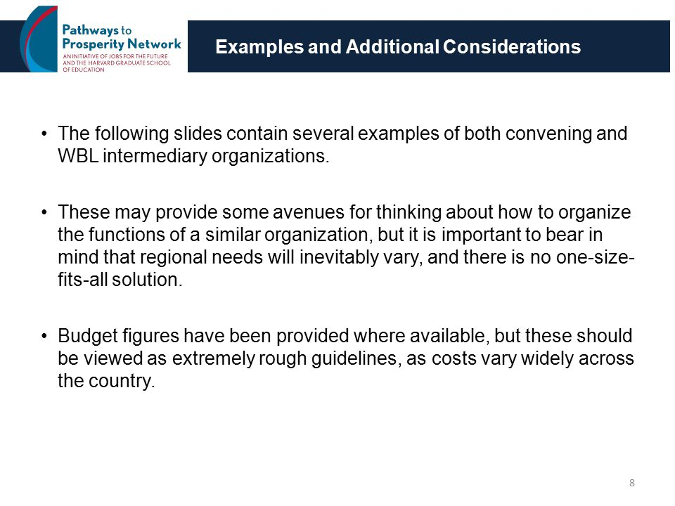 Examples and Additional Considerations The following slides contain several examples of both convening and WBL intermediary organizations.