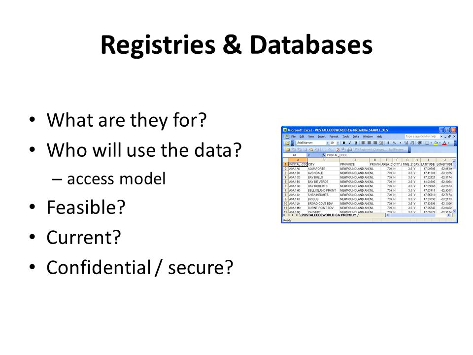 Registries & Databases What are they for? Who will use the data? – access model Feasible? Current? Confidential / secure?