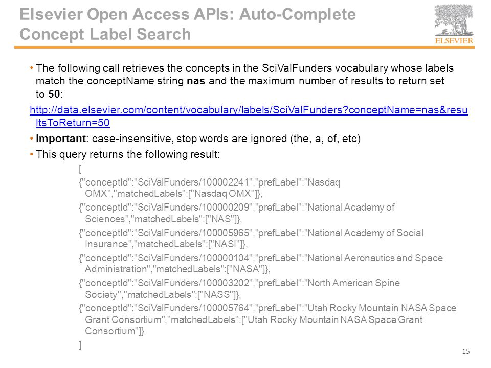 Elsevier Open Access APIs: Auto-Complete Concept Label Search The following call retrieves the concepts in the SciValFunders vocabulary whose labels match the conceptName string nas and the maximum number of results to return set to 50: http://data.elsevier.com/content/vocabulary/labels/SciValFunders conceptName=nas&resu ltsToReturn=50 Important: case-insensitive, stop words are ignored (the, a, of, etc) This query returns the following result: [ { conceptId : SciValFunders/100002241 , prefLabel : Nasdaq OMX , matchedLabels :[ Nasdaq OMX ]}, { conceptId : SciValFunders/100000209 , prefLabel : National Academy of Sciences , matchedLabels :[ NAS ]}, { conceptId : SciValFunders/100005965 , prefLabel : National Academy of Social Insurance , matchedLabels :[ NASI ]}, { conceptId : SciValFunders/100000104 , prefLabel : National Aeronautics and Space Administration , matchedLabels :[ NASA ]}, { conceptId : SciValFunders/100003202 , prefLabel : North American Spine Society , matchedLabels :[ NASS ]}, { conceptId : SciValFunders/100005764 , prefLabel : Utah Rocky Mountain NASA Space Grant Consortium , matchedLabels :[ Utah Rocky Mountain NASA Space Grant Consortium ]} ] 15