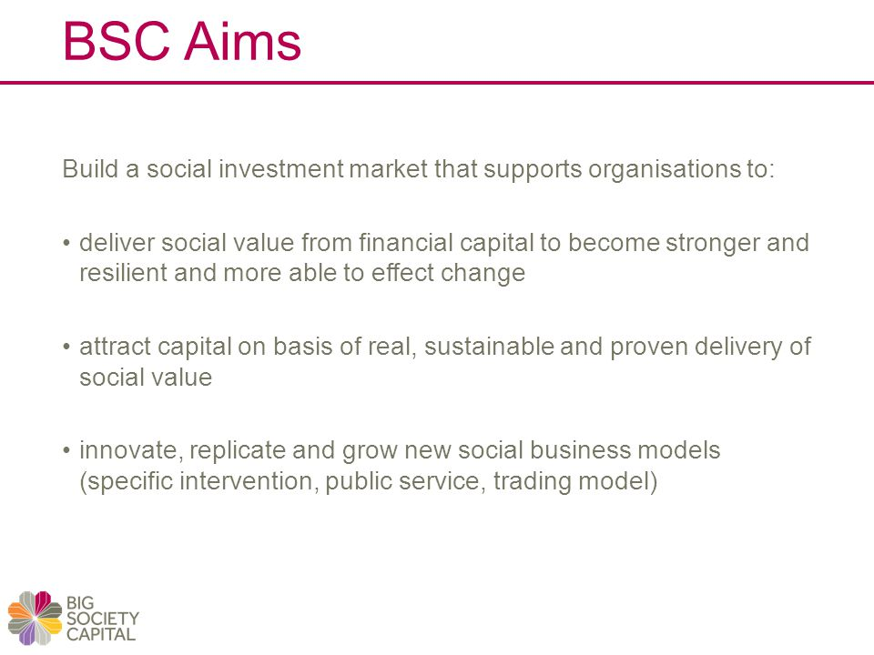 BSC Aims Build a social investment market that supports organisations to: deliver social value from financial capital to become stronger and resilient and more able to effect change attract capital on basis of real, sustainable and proven delivery of social value innovate, replicate and grow new social business models (specific intervention, public service, trading model)