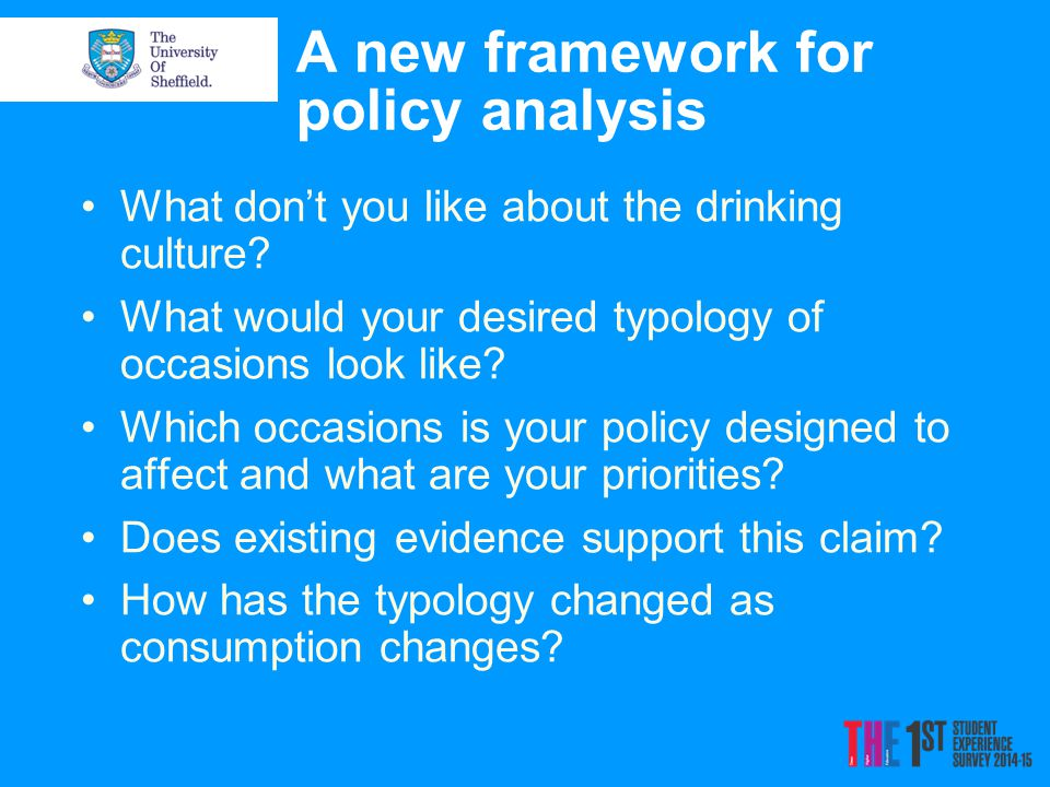 A new framework for policy analysis What don't you like about the drinking culture? What would your desired typology of occasions look like? Which occ