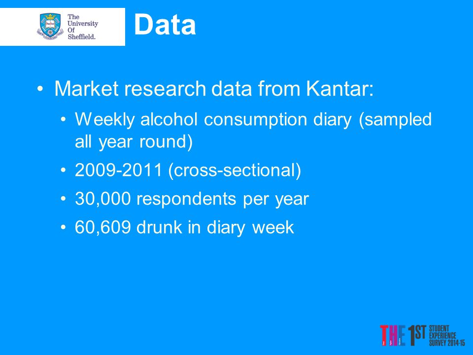 Data Market research data from Kantar: Weekly alcohol consumption diary (sampled all year round) 2009-2011 (cross-sectional) 30,000 respondents per year 60,609 drunk in diary week