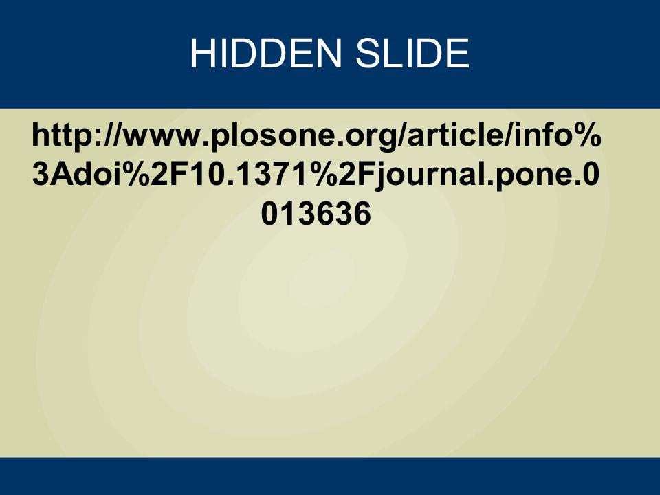HIDDEN SLIDE http://www.plosone.org/article/info% 3Adoi%2F10.1371%2Fjournal.pone.0 013636