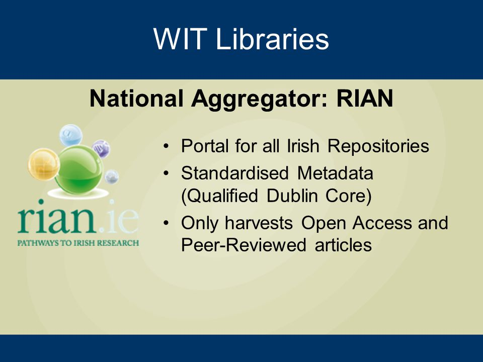 Portal for all Irish Repositories Standardised Metadata (Qualified Dublin Core) Only harvests Open Access and Peer-Reviewed articles WIT Libraries National Aggregator: RIAN