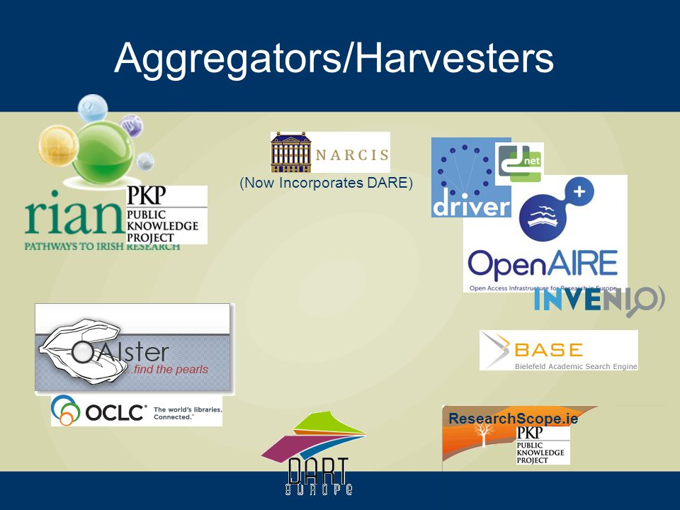 Aggregators/Harvesters (Now Incorporates DARE) ResearchScope.ie