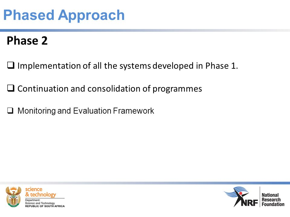 Phased Approach Phase 2  Implementation of all the systems developed in Phase 1.
