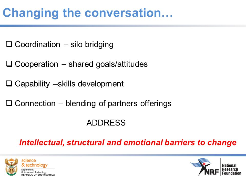 Changing the conversation…  Coordination – silo bridging  Cooperation – shared goals/attitudes  Capability –skills development  Connection – blending of partners offerings ADDRESS Intellectual, structural and emotional barriers to change
