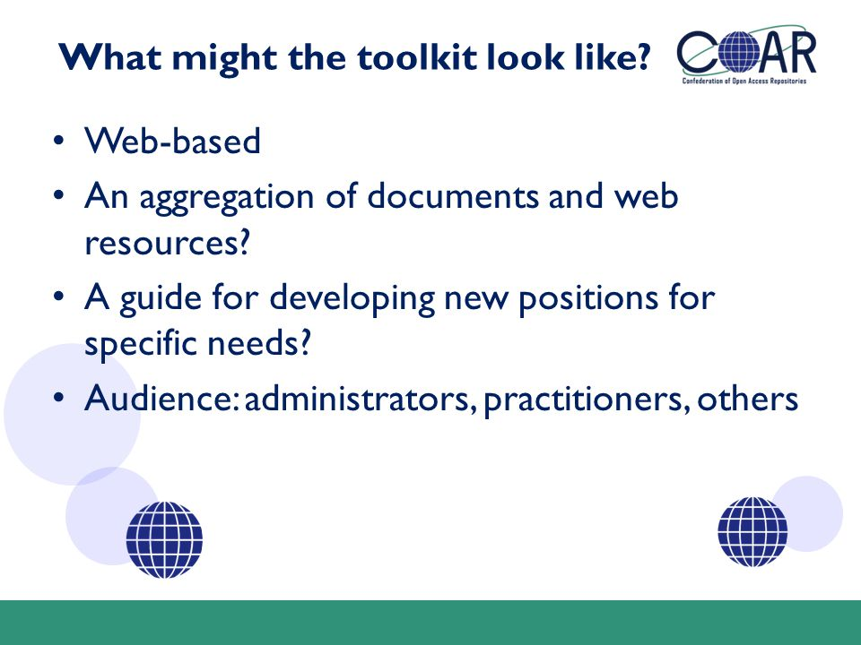 What might the toolkit look like? Web-based An aggregation of documents and web resources? A guide for developing new positions for specific needs? Au