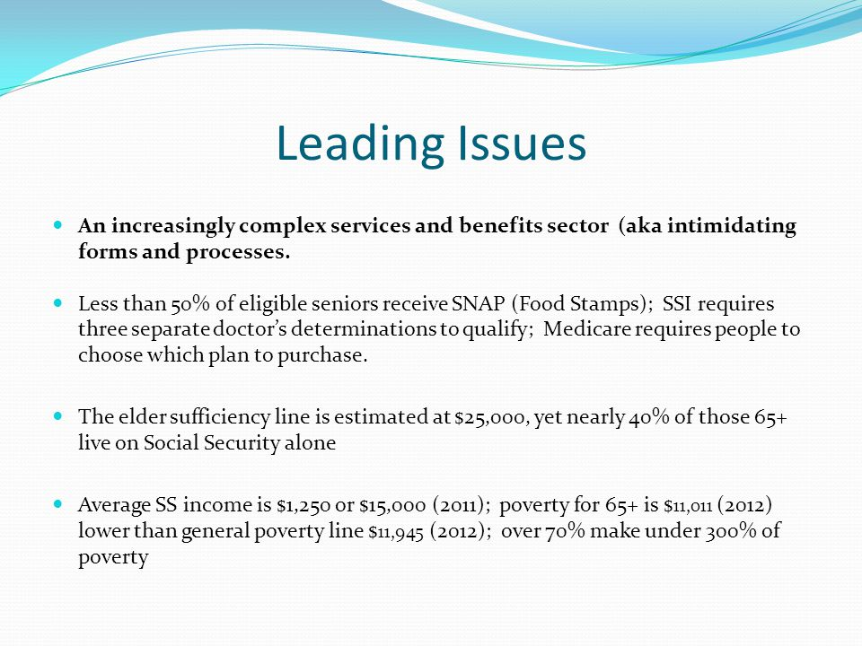 Leading Issues An increasingly complex services and benefits sector (aka intimidating forms and processes. Less than 50% of eligible seniors receive S
