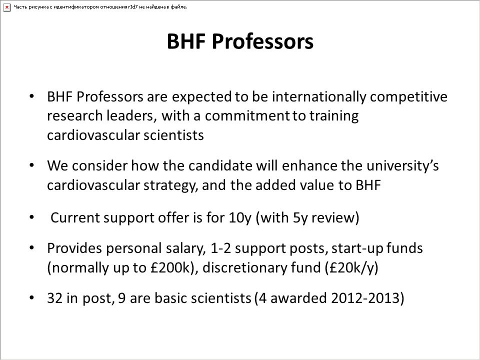 BHF Professors BHF Professors are expected to be internationally competitive research leaders, with a commitment to training cardiovascular scientists