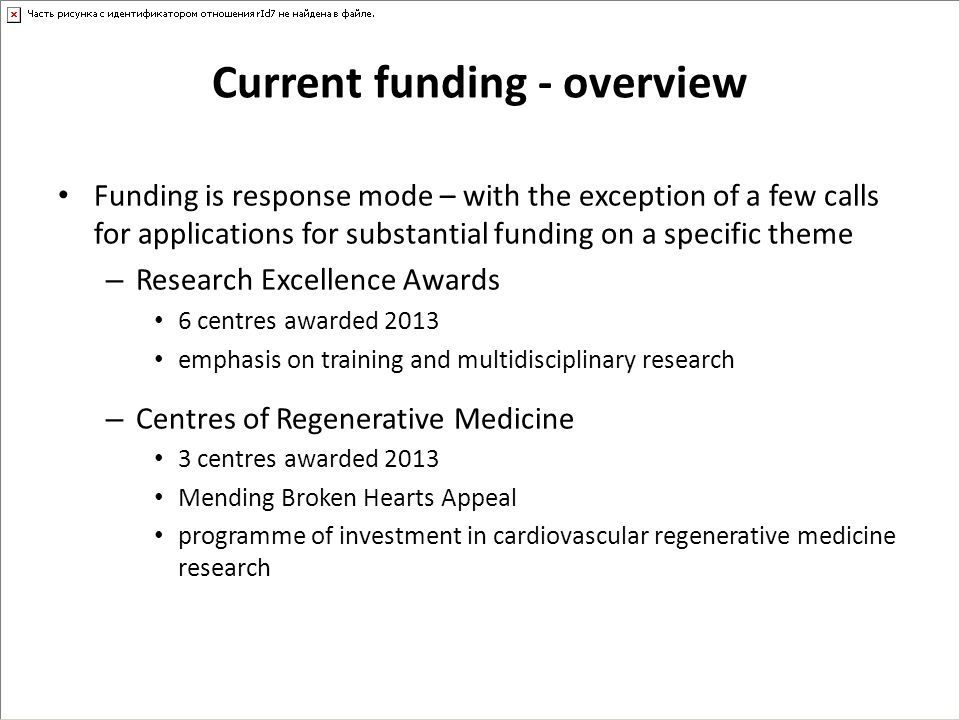 Current funding - overview Funding is response mode – with the exception of a few calls for applications for substantial funding on a specific theme –