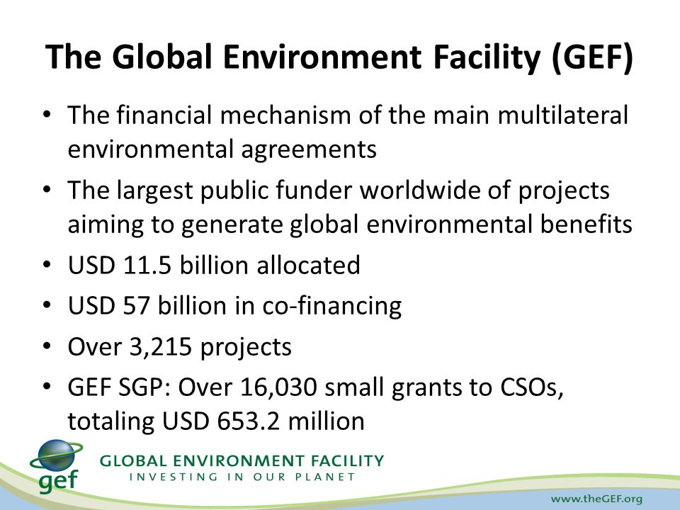The Global Environment Facility (GEF) The financial mechanism of the main multilateral environmental agreements The largest public funder worldwide of projects aiming to generate global environmental benefits USD 11.5 billion allocated USD 57 billion in co-financing Over 3,215 projects GEF SGP: Over 16,030 small grants to CSOs, totaling USD 653.2 million