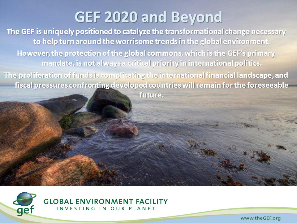 The GEF is uniquely positioned to catalyze the transformational change necessary to help turn around the worrisome trends in the global environment.