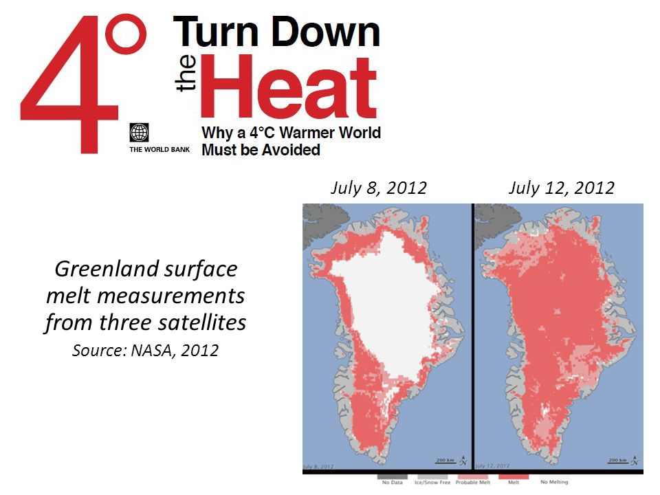 Greenland surface melt measurements from three satellites Source: NASA, 2012 July 8, 2012 July 12, 2012
