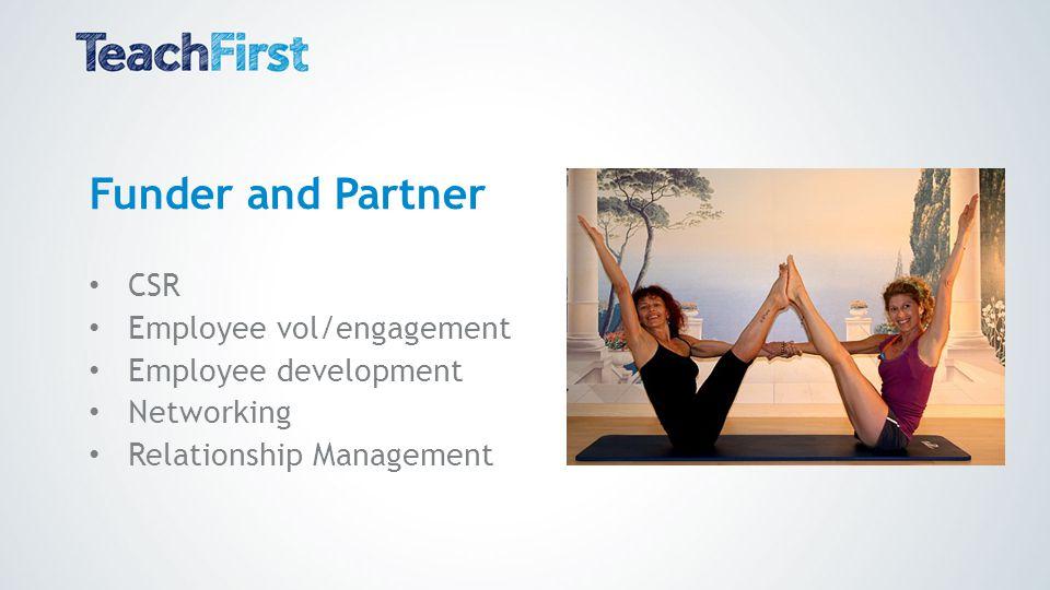 Funder and Partner CSR Employee vol/engagement Employee development Networking Relationship Management